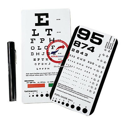 Snellen + Rosenbaum Pocket Eye Charts & penlight With Pupil Gauge 3 pieces Total
