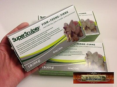 M00370x3 MOREZMORE Super Sculpey FIRM Sculpting Grey Polymer Clay 3 lb T20A