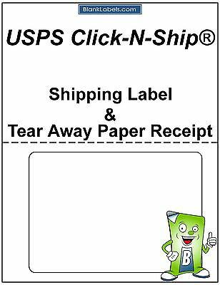 1500 Laser /Ink Jet Labels Click-N-Ship with Tear Off Receipt -Perfect for USPS!