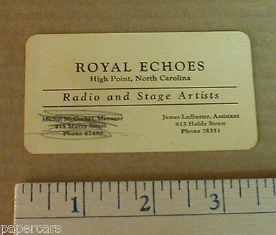 1950s Royal Echoes Gospel Band Quartet Radio Artists Business Card High Point NC