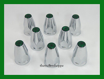 Chrome Lug Nut Covers with Flanges and Green Reflectors 33mm ABS Plastic 8 PC.