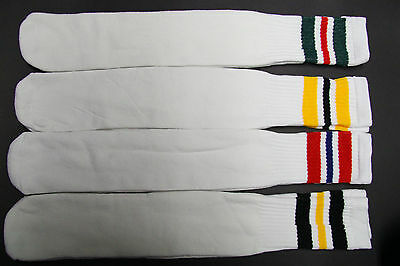 1 pairs 24 INCH LONG TUBE SOCKS WHITE STRIP MEN'S & WOMEN'S CREW BOOTS KNEE HIGH