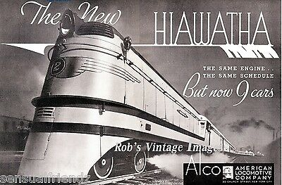 Milwaukee Road Hiawatha ALCO Steam Poster CMSP Railroad 1937 Print Ad Chicago