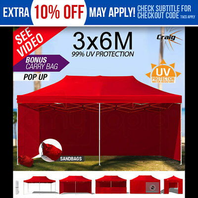 NEW Party Gazebo 3x6m Red Outdoor Pop Up Folding Marquee Market Tent Canopy