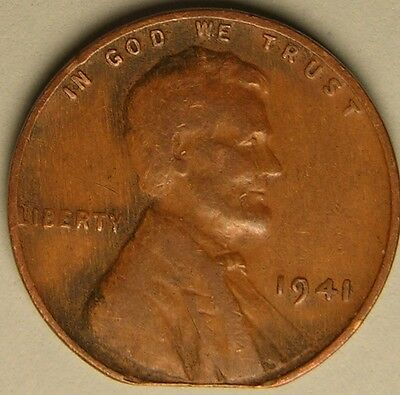 1941 P  Lincoln Wheat Penny,  Cent, (Clipped Planchet) Mint Error Coin,  Ae 183