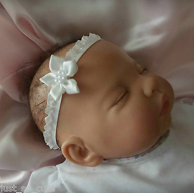 Ivory baby girls headband with ivory flower all sizes christening weddings party