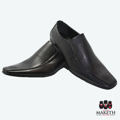 New Maketh Mens Formal Dress Shoe Pull On Leather Lined Black Pitted