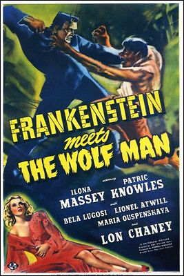 """1943 Frankenstein Meets the Wolfman Movie Poster Replica 13x19"""" Photo Print"""
