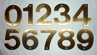 "Decorlux Solid Brass House Numbers 5"" 0 1 2 3 4 5 6 7 8 9 SATIN BRASS FREE SHIP!"