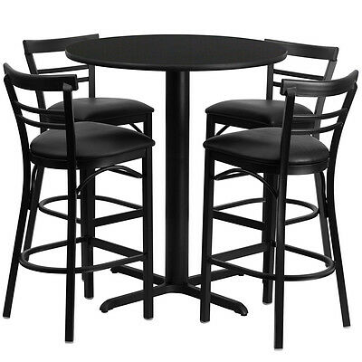 Restaurant Table Chairs 24'' Black Laminate with 4 Ladder Back Metal Bar Stools