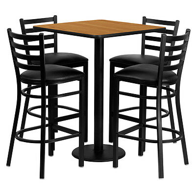Restaurant Table Chairs 30'' Natura Laminate with 4 Ladder Back Metal Bar Stools