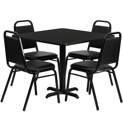 "Restaurant Table Chairs 36""Square Black Laminate with 4 Trapezoidal Back Banquet"