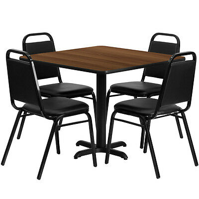 "Restaurant Table Chairs 36"" Walnut Laminate with 4 Trapezoidal Back Banquet"
