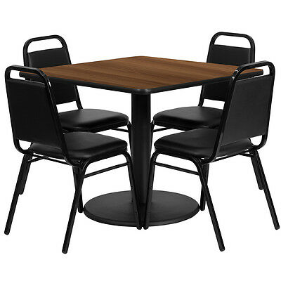 """Restaurant Table Chairs 36"""" Walnut Laminate with 4 Trapezoidal Back Banquet"""