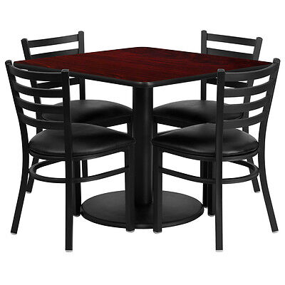 "Restaurant Table Set 36"" Mahogany Laminate with 4 Ladder Back Metal Vinyl Seat"