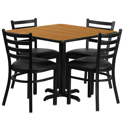 """Restaurant Table Chairs 36"""" Natural Laminate with 4 Ladder Back Meta Vinyl Seat"""