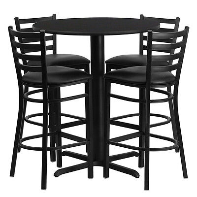 Restaurant Table Chairs 30'' Round Black Laminate with 4 Ladder Metal Bar Stools