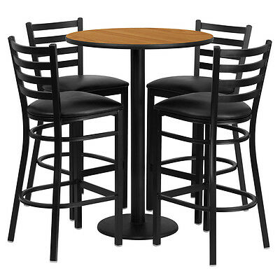 Restaurant Table Chairs 30'' Natural Laminate with 4 Ladder Metal Bar Stools