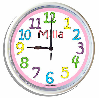 PERSONALISED Wall Clock BRIGHT LARGE numbers Girls PINK border 25cm