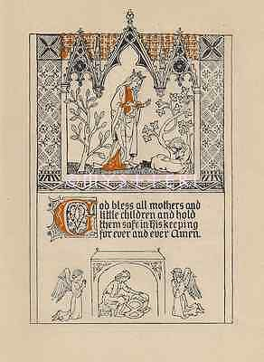 1910 ANTIQUE VINTAGE Color ART PRINT-God Bless Mothers-Little Children-Medieval