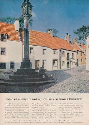 1962 British Travel Association PRINT AD Culross in Scotland Town Scene detailed