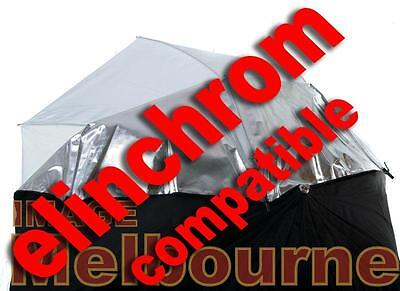 "Elinchrom compatible umbrella 84cm 33"" reflective translucent white double"