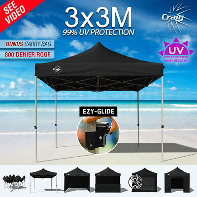 NEW 3x3m CRAIG Pop Up Outdoor Gazebo Folding Tent Marquee Shade Canopy Black