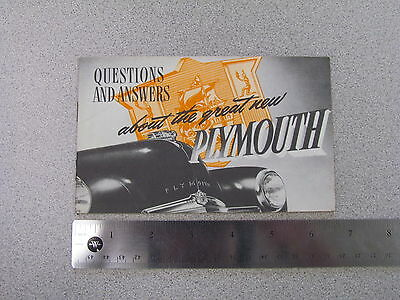 1949 Plymouth Questions and Answers Sales Catalog; brochure, data book (S0022)