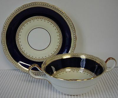 Aynsley PEARL-COBALT-7195 Cream Soup Bowl & Saucer Set /s ~ Multiple Available