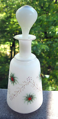 ANTIQUE PERFUME/COLOGNE BOTTLE SATIN HAND BLOWN GLASS HAND PAINTED DESIGN