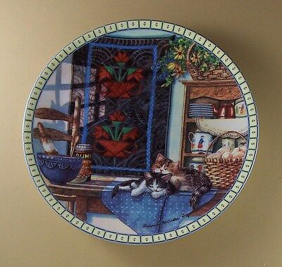 Autographed!! LAZY MORNING Quilt Plate COZY COUNTRY CORNERS Kitten Cat Antiques