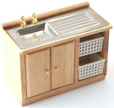 Pine Sink Unit With Baskets & Gold Taps 1:12 Scale for Dolls House Kitchen