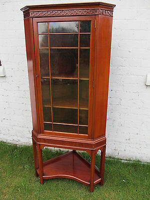 Attractive Mahogany Corner Cabinet On Stand Dating To The Edwardian Era
