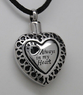 Always In My Heart Paw Cremation Jewelry Paw Urn Necklace Pet Urn Black Cord