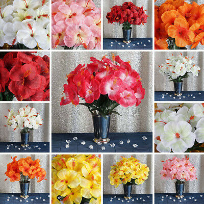 60 Pcs Silk Hibiscus Flowers For Wedding Bouquets Centerpieces