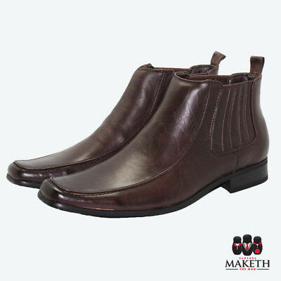New Maketh Mens Formal Dress Boot Shoe Leather Lined Brown Pull On Multi Sizes