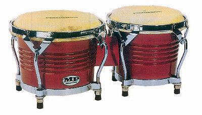 "MANO PERCUSSION Bongo Drums, Red Wood *NEW* Bongos, 7"" & 8"" heads, Pro style"