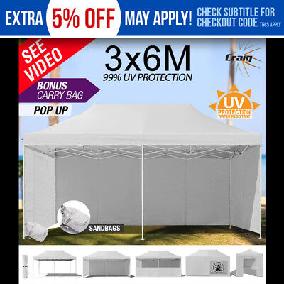 RED TRACK 3x6m Gazebo White Folding Marquee Outdoor Tent Canopy Pop Up Party