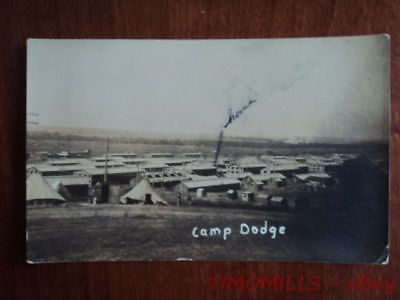 1917 Camp Dodge Iowa Real Photo Postcard RPPC from US Army Solider AEF WWI era