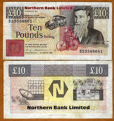 Ireland, Northern Bank, 10 pounds, 1993, P-194 (194b), F-VF > Sale !!
