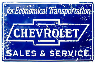 Chevrolet Sales & Service Rustic Tin Sign M756 Aluminium  Embossed Retro