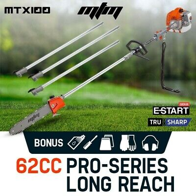 NEW MTM 62CC Pole Chainsaw Petrol Chain Saw Brush Cutter Brushcutter Tree Pruner