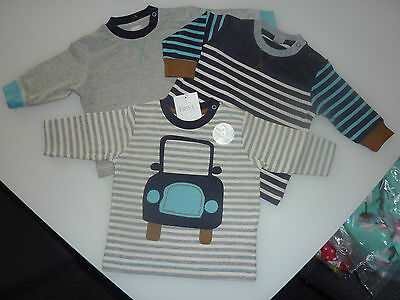NEXT 3 Little Boys Car and Stripe Long Sleeve Tops Up to 3 Months NWT