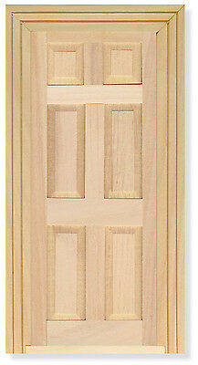 12th Scale Wood Door With Architrave Ideal for Dolls House / Fairy Doors
