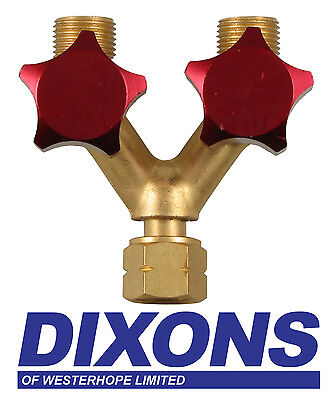 Acetylene or Propane Y Piece Double Outlet Splitter Adaptor Lefthand Valves Red