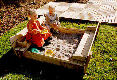 Wooden Square Sandpit Sand Box Built In Benches And Lid