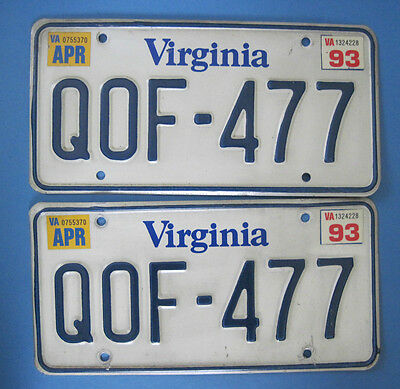 1993 Virginia License Plates - Matched Pair