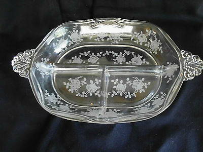 Fostoria Willowmere Tabbed/Handled Divided Relish Dish/Tray *Etched Rose Pattern