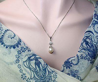 A8411 luxury  STERLING SILVER White Pearl Pendant Necklace /Jewelry Box
