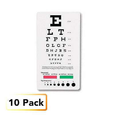 10 Piece Lot- 10 Medical Snellen Pocket Eye Exam Chart Free shipping